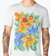 Watercolor Hand-Painted Orange Blue Tropical Flowers Men's Premium T-Shirt