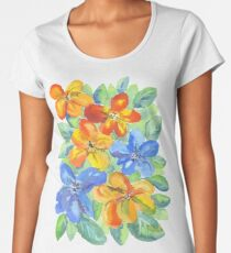 Watercolor Hand-Painted Orange Blue Tropical Flowers Women's Premium T-Shirt