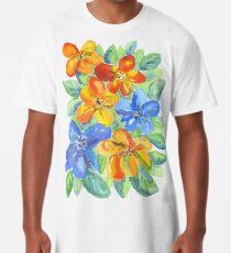 Watercolor Hand-Painted Orange Blue Tropical Flowers Long T-Shirt