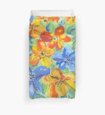 Watercolor Hand-Painted Orange Blue Tropical Flowers Duvet Cover