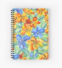 Watercolor Hand-Painted Orange Blue Tropical Flowers Spiral Notebook
