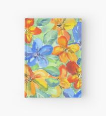 Watercolor Hand-Painted Orange Blue Tropical Flowers Hardcover Journal
