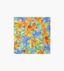 Watercolor Hand-Painted Orange Blue Tropical Flowers Art Board