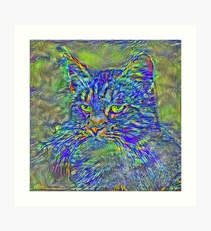 Artificial neural style Post-Impressionism cat Art Print