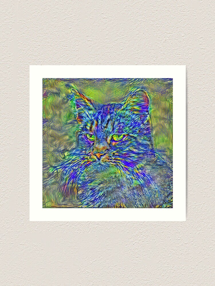 Alternate view of Artificial neural style Post-Impressionism cat Art Print