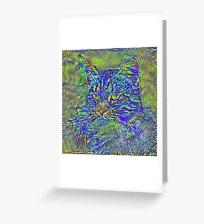 Artificial neural style Post-Impressionism cat Greeting Card