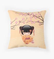 Japanese Ume Kokeshi Doll Throw Pillow