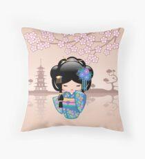 Japanese Keiko Kokeshi Doll Throw Pillow