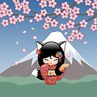 Japanische Kitsune Kokeshi Puppe von Natalia Linnik