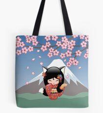 Japanese Kitsune Kokeshi Doll Tote Bag