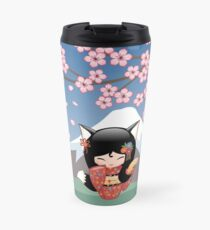 Japanese Kitsune Kokeshi Doll Travel Mug