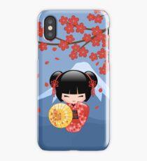 Japanese Red Sakura Kokeshi Doll iPhone Case/Skin