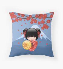 Japanese Red Sakura Kokeshi Doll Throw Pillow