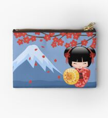 Japanese Red Sakura Kokeshi Doll Zipper Pouch