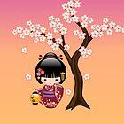 Japanische Sakura Kokeshi Puppe von Natalia Linnik