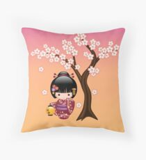 Japanese Sakura Kokeshi Doll Throw Pillow