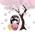 Japanischer Frühling Kokeshi Puppe von Natalia Linnik