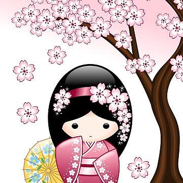 Japanese Spring Kokeshi Doll by chibibikun