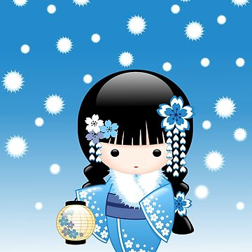 Japanese Winter Kokeshi Doll by chibibikun