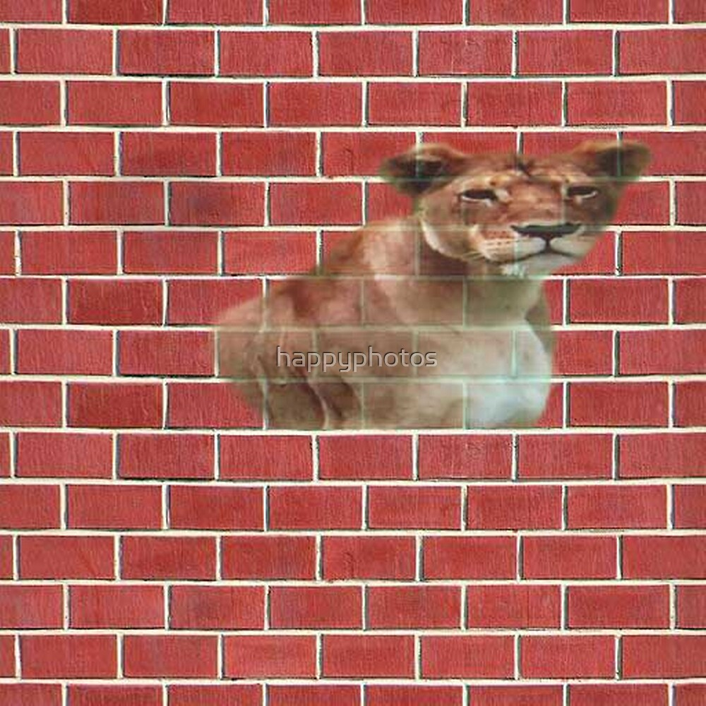 Lion stuck in a brick wall by happyphotos