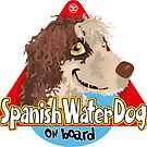 Spanish Water Dog On Board - Brown & White by DoggyGraphics