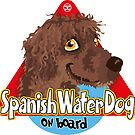 Spanish Water Dog On Board - Brown by DoggyGraphics