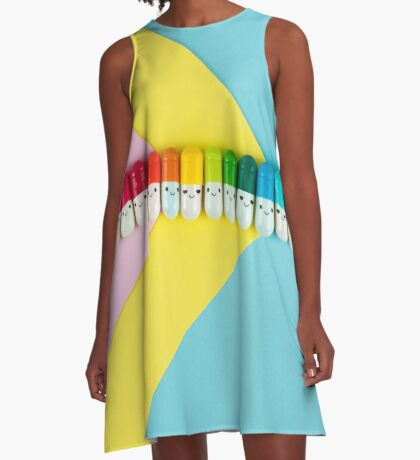 Glückliche kleine Regenbogenpillen A-Linien Kleid