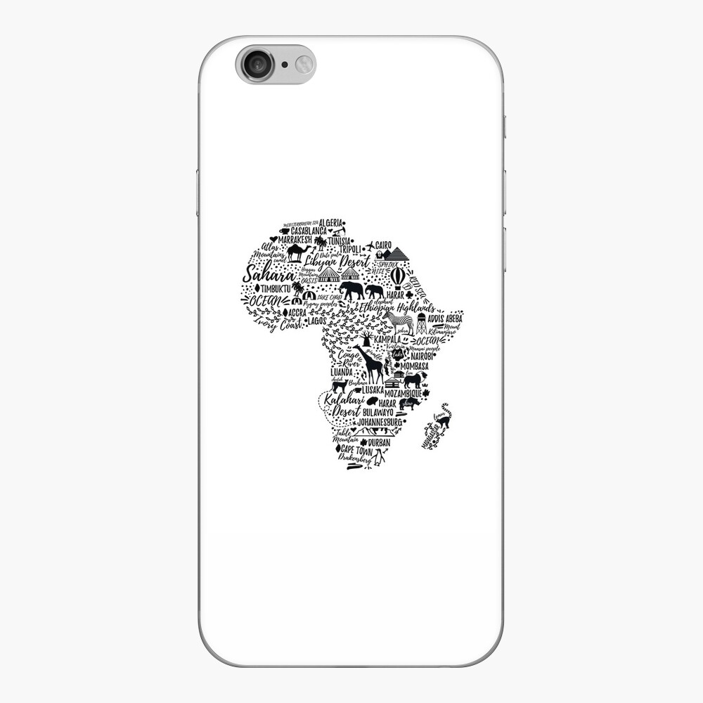 Typography poster. Africa map.  iPhone Skin