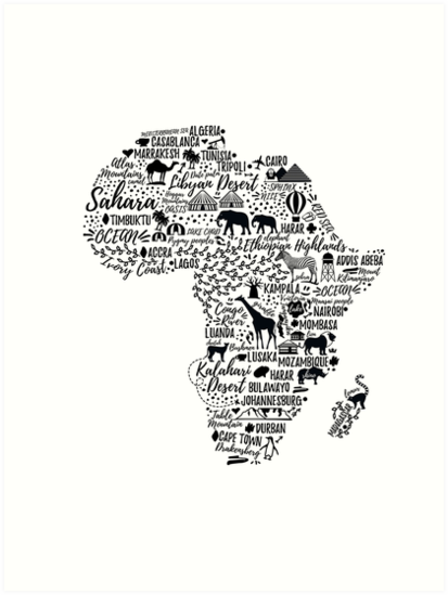 Typography poster africa map art prints by moloko88 redbubble typography poster africa map by moloko88 gumiabroncs Image collections