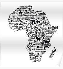 Typografie-Poster. Afrika Karte. Poster
