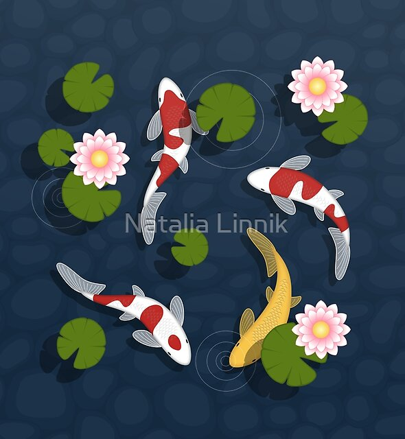 Japanese Koi Fish Pond by Natalia Linnik