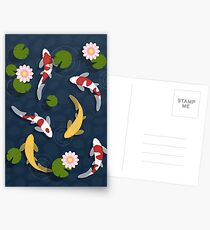 Japanese Koi Fish Pond Postcards
