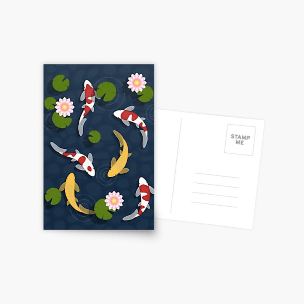 Japanese Koi Fish Pond Postcard