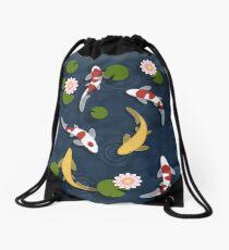Japanese Koi Fish Pond Drawstring Bag