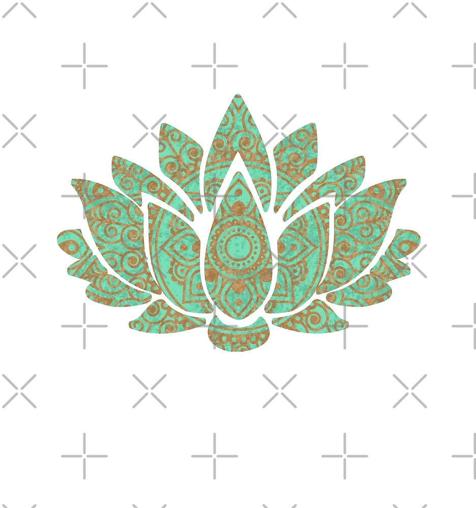 Lotus Flower 001 Teal By Stuph4kewlkidz Redbubble