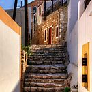 Nimborio Alleyway Steps by Tom Gomez