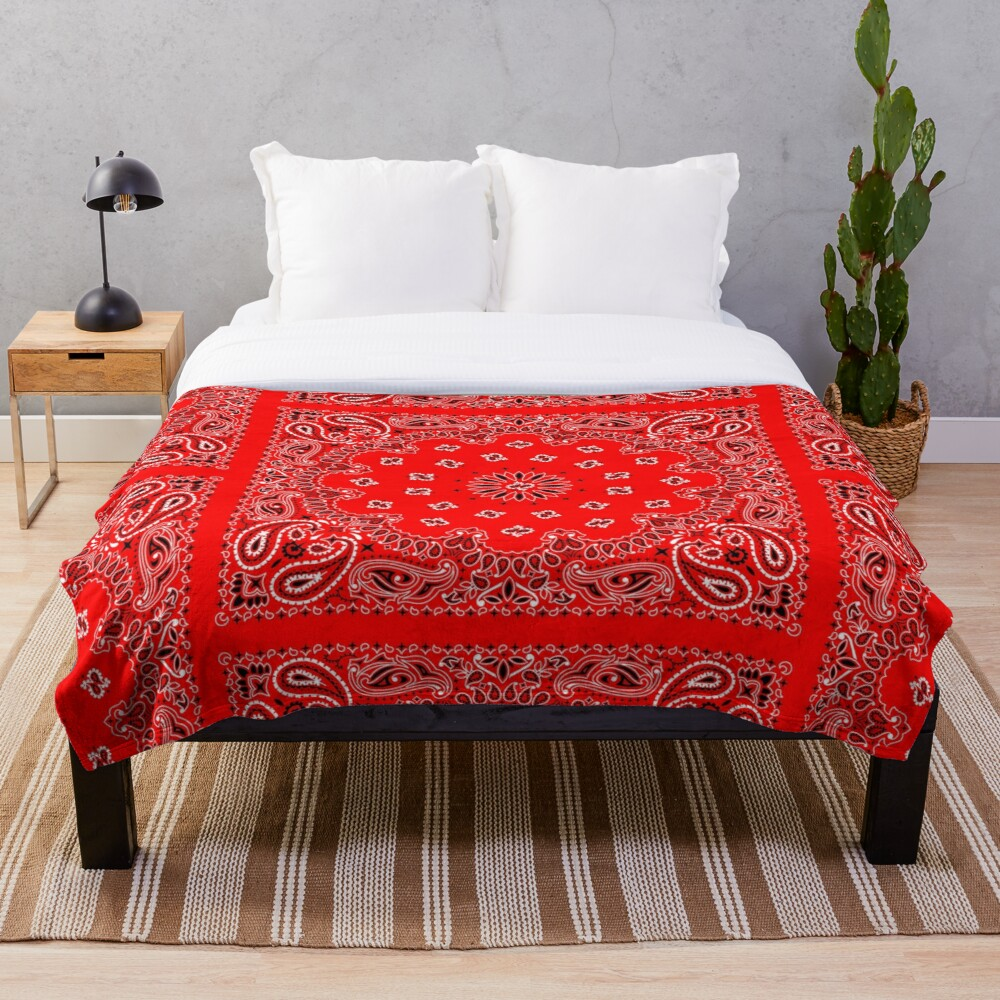 Red Bandana Throw Blanket