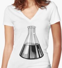 Black Beaker Women's Fitted V-Neck T-Shirt