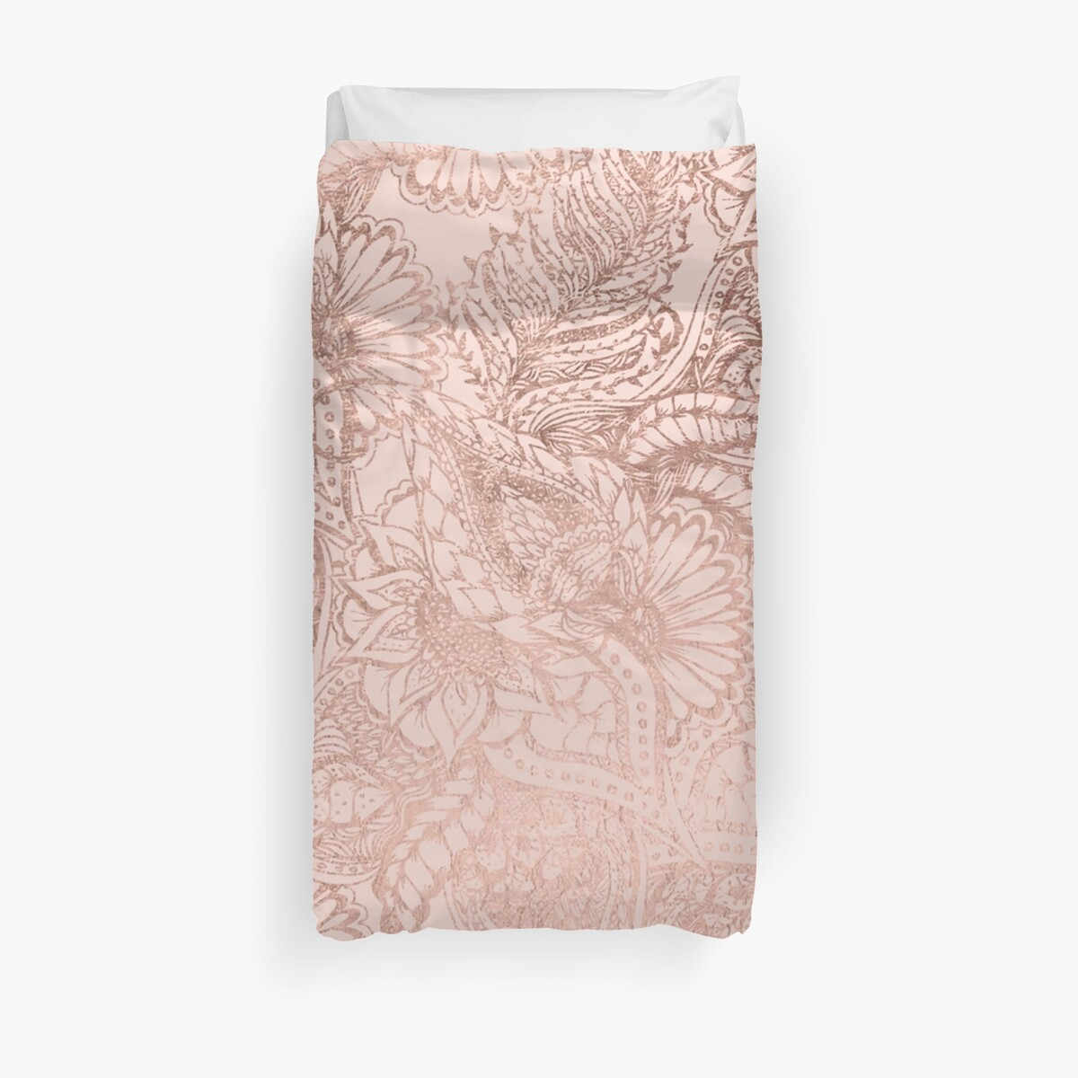 gray drawn hand and feathers silver duvet blush pink large cover