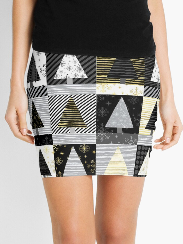 9f22b101f67b Christmas tree forest quilt pattern cute black white gold holiday gifts Mini  Skirt