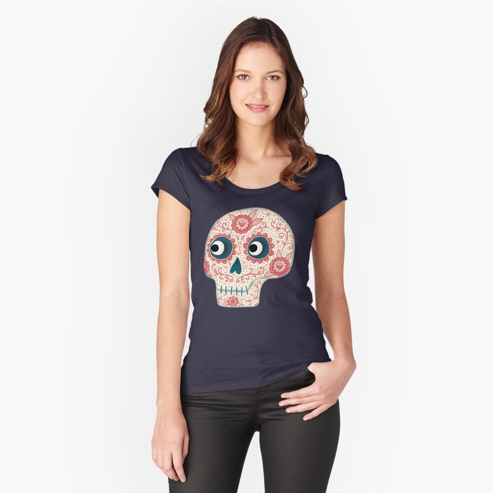Mexikanischer Dia de los Muertos Tag der Toten Tailliertes Rundhals-Shirt