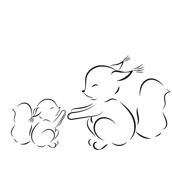 Láminas fotográficas «dibujo esquemático ardillas mamá y bebé» de ...
