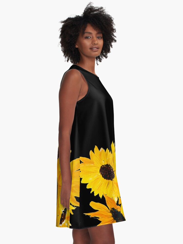 Alternate view of Painted sunflower bouquet A-Line Dress
