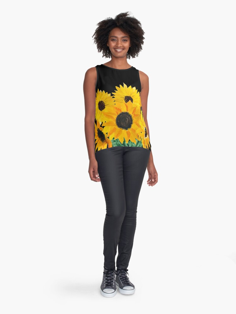 Alternate view of Painted sunflower bouquet Sleeveless Top