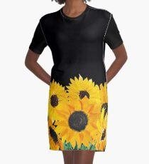 Gemalter Sonnenblumenstrauß T-Shirt Kleid