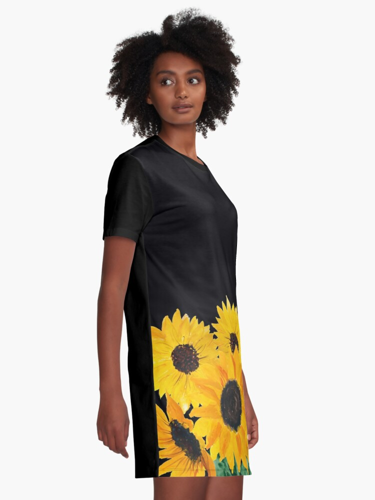 Alternate view of Painted sunflower bouquet Graphic T-Shirt Dress