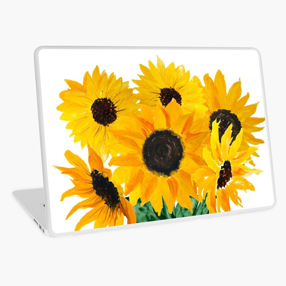 Painted sunflower bouquet Laptop Skin