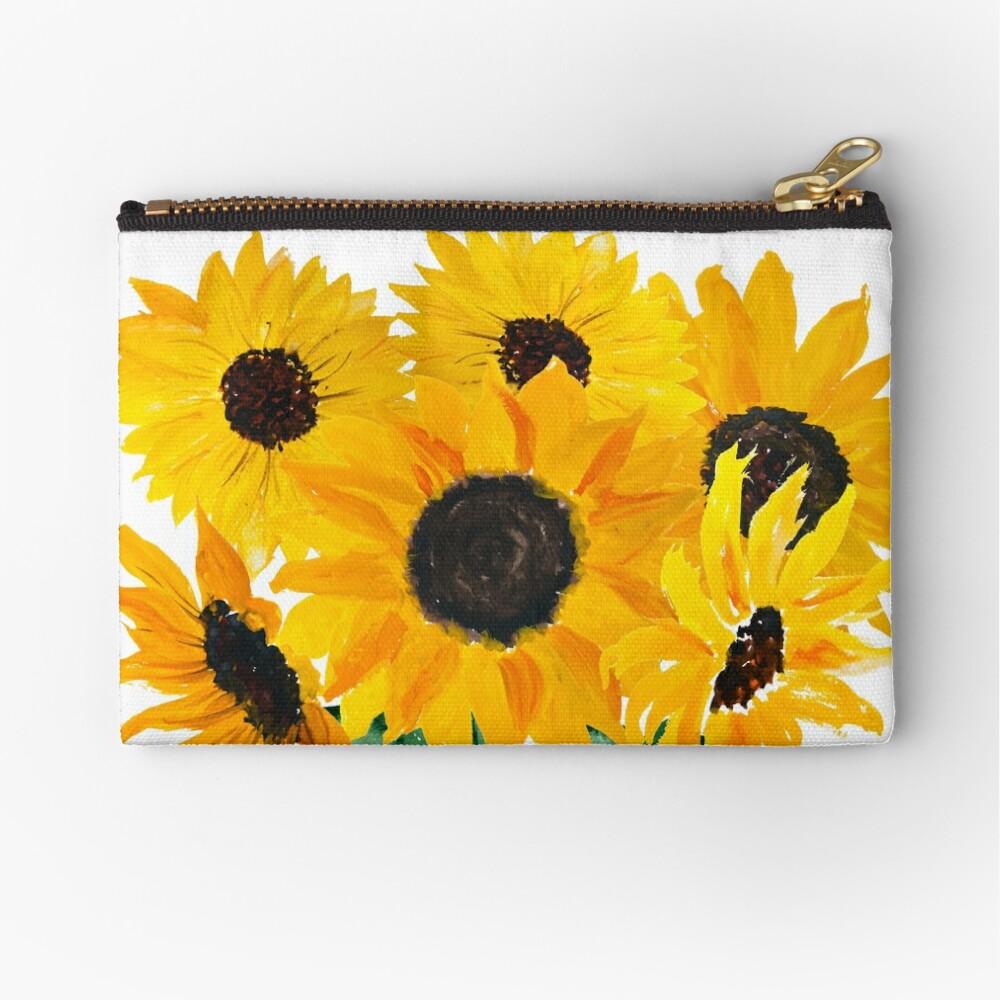 Painted sunflower bouquet Zipper Pouch