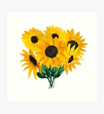 Painted sunflower bouquet Art Print