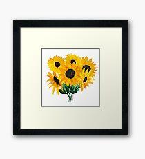 Painted sunflower bouquet Framed Print